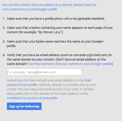 google authorship form