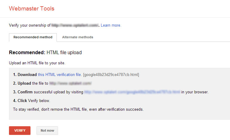 Google Webmasters Tools Website Verification