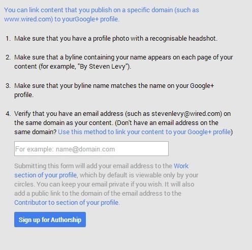 google authorship form